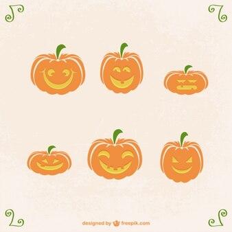 Vektor-sammlung von lustigen halloween-kürbisse
