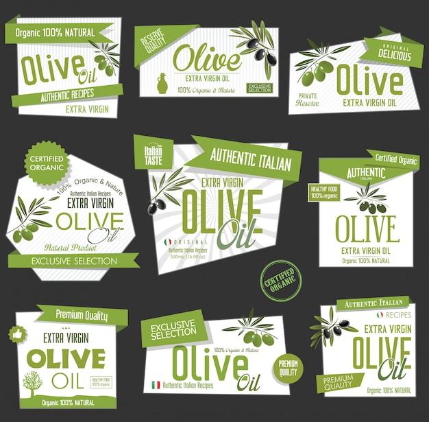 Vektor-sammlung von olivenöl-etiketten