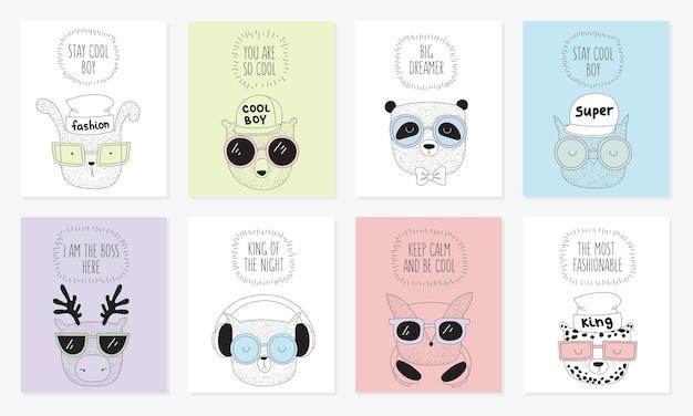 Vektor-sammlung von postkarten mit strichzeichnung hipster-tiere mit coolem slogan