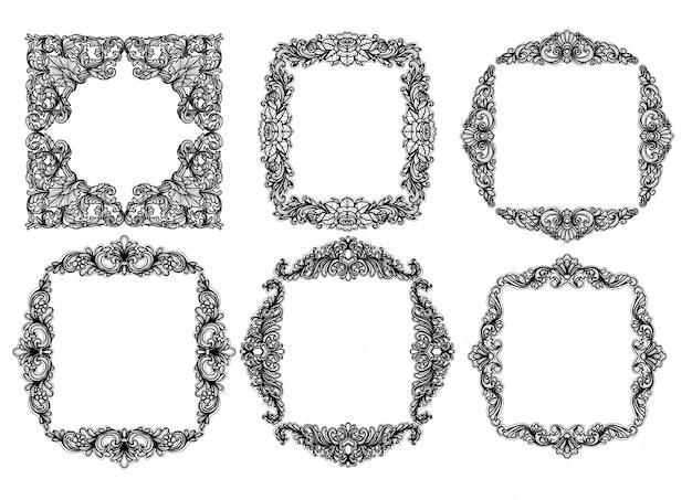 Vektor-satz des barockrahmens silhouettiert vingtage