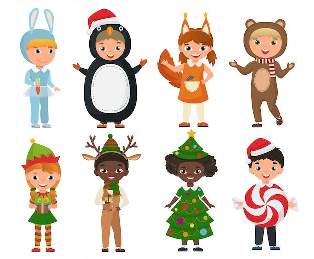 Vektor-satz nette kinder, die weihnachtskleidungskostüme tragen.