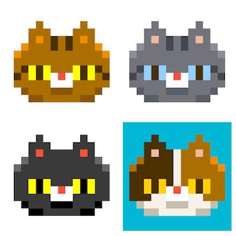 Vektor-satz pixel verschiedene cat heads Premium Vektoren