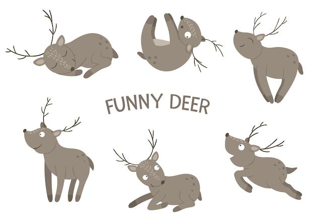 Vektor-satz von gezeichneten flachen lustigen hirschen der karikaturarthand in verschiedenen posen. nette illustration von waldtieren