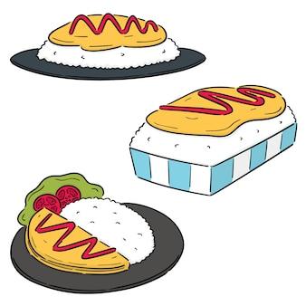 Vektor-satz von omelett-reis