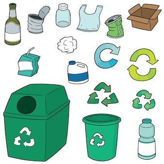 Vektor-satz von recycling-müll