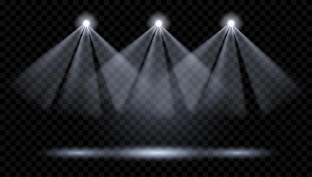 Vektor-scheinwerfer. beleuchtung der szene. transparente lichteffekte. transparenz nur im vektorformat