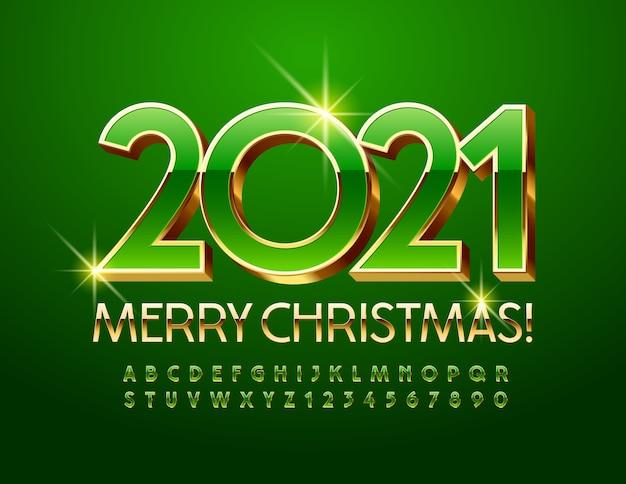 Vektor-schicke grußkarte frohes neues jahr 2021! glänzende grüne und goldene schrift. premium elegant 3d alphabet buchstaben und zahlen eingestellt