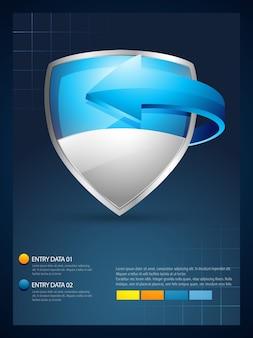Vektor-schild mit pfeil-infografik-vorlage