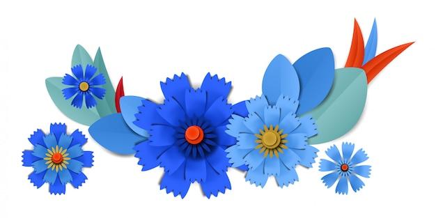 Vektor schnitt blaue kornblumen des papiers in der vignette