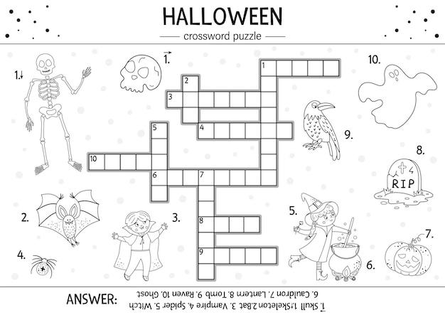 Vektor-schwarz-weiß-halloween-kreuzworträtsel für kinder einfaches quiz oder malvorlagen