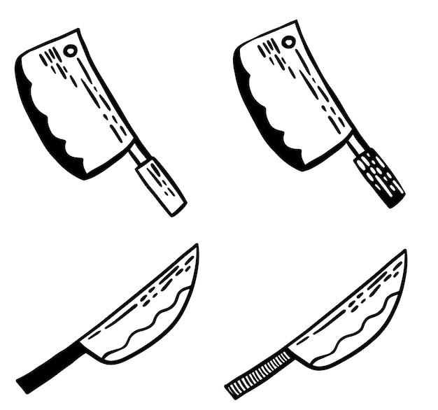 Vektor-schwarz-weiß-messer-doodle