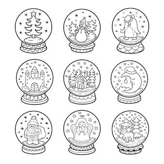Vektor-schwarz-weiß-set von schneebällen, farblose weihnachtskollektion