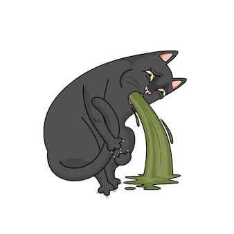 Vektor schwarze katze kotzt. übelkeit, erbrechen. die katze ist krank und fühlt sich schlecht.