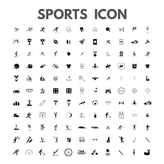 Vektor schwarze sport-icons auf weiß gesetzt