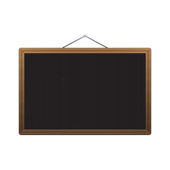 Vektor schwarze tafel mit braunen ecken über weiß. vektor-illustration