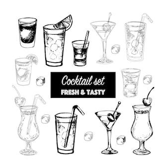 Vektor-set beliebter alkoholcocktails mit fruchtscheiben und dekoration von cocktails