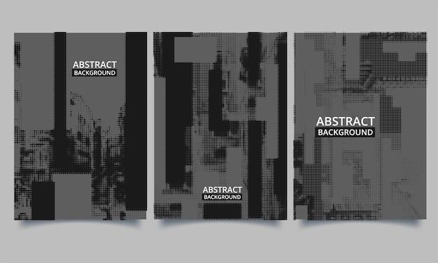 Vektor-set flyer-vorlagenbuch mit grunge-stil