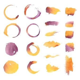 Vektor-set für geometrische formen des aquarells