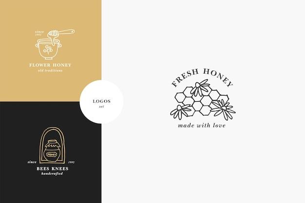 Vektor-set illustartion logos und designvorlagen oder abzeichen bio- und öko-honig
