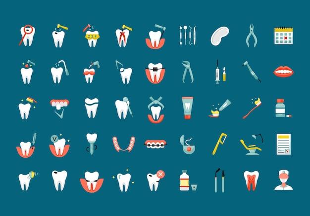 Vektor-set mit flachen farbsymbolen für die zahnmedizin
