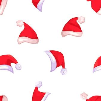 Vektor-set rote weihnachtsmann-hüte für weihnachten oder neujahr.