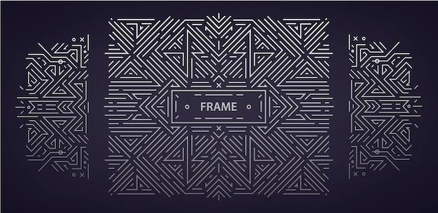 Vektor-set von abstrakten art-deco-rahmen. linearer moderner stil, geometrische monogrammbanner, luxuriöses verpackungsdesign, poster, einladung, cover, hintergrund