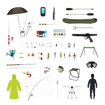 Vektor-set von angelausrüstung