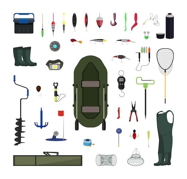 Vektor-set von angelausrüstungen