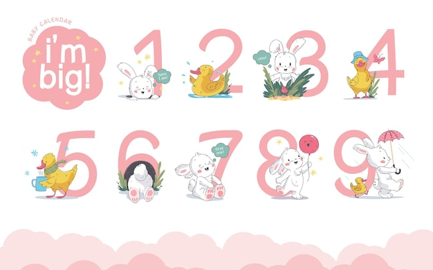 Vektor-set von baby-kalenderzahlen oder -zahlen mit süßem kleinen häschen und kleiner gelber ente