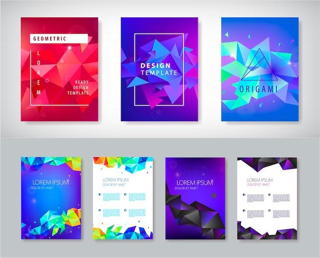 Vektor-set von broschüren-design-vorlagen, cover-design, flyer. abstrakter business-flyer a4, geometrischer dreiecksfacettenstil mit 3d-formen