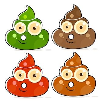 Vektor-set von cartoon brown poop. scheiß variationen.