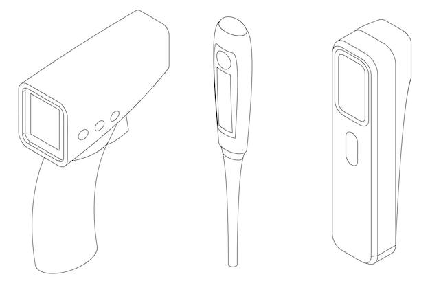 Vektor-set von digitalen thermometern