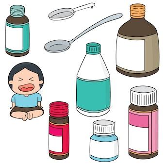 Vektor-set von flüssiger medizin
