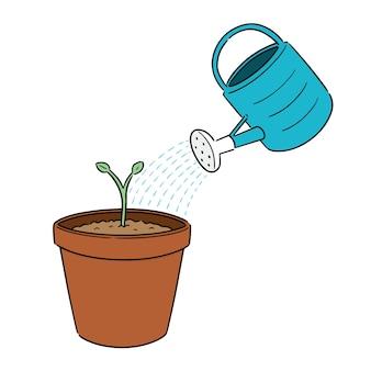 Vektor-set von gießkanne und pflanze
