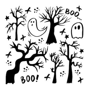 Vektor-set von halloween-cliparts. lustige, süße illustration für saisonales design, textilien, dekorationskinderspielzimmer oder grußkarten. handgezeichnete drucke und gekritzel.