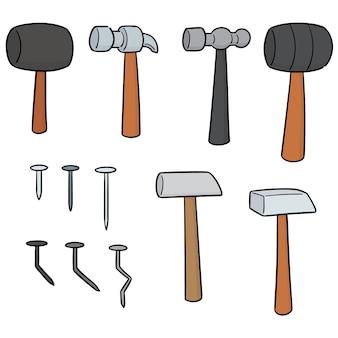 Vektor-set von hammer und nägeln