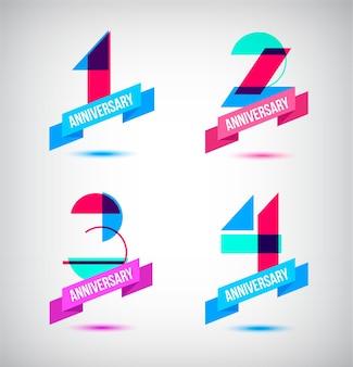 Vektor-set von jubiläums-retro-zahlen-design 1 2 3 4 symbolkompositionen mit bändern