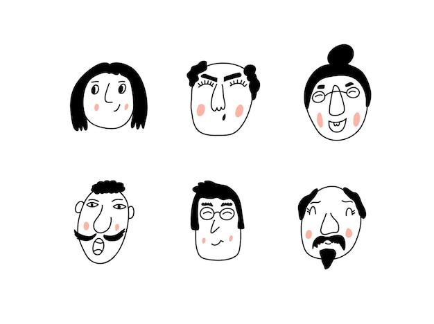 Vektor-set von jungen männern und frauen des porträts mit einem modischen haarschnitt. skandinavische illustration eines avatars.