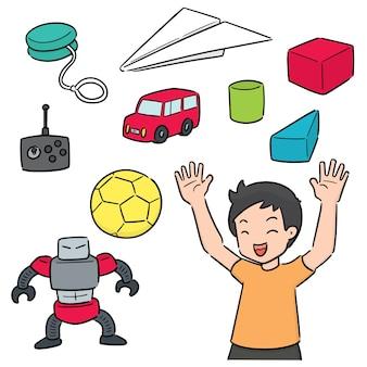 Vektor-set von kind und spielzeug