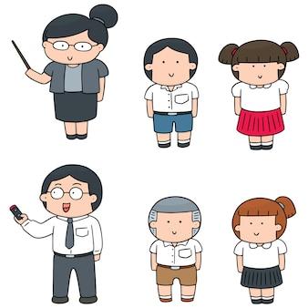 Vektor-set von lehrer und schüler