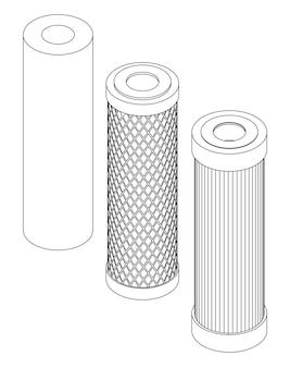 Vektor-set von linie kunst wasserfilterpatrone isometrische darstellung