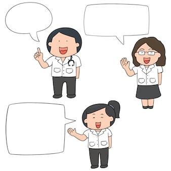 Vektor-set von medizinischen mitarbeitern sprechen