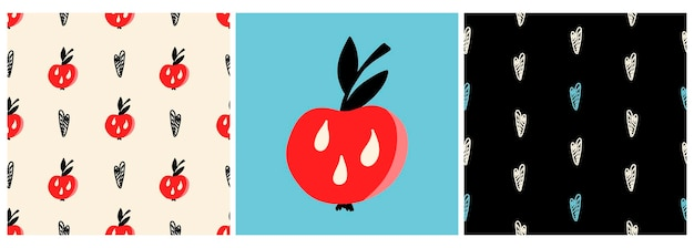 Vektor-set von mustern und ein poster mit einem roten apfel und herzen in einem flachen stil