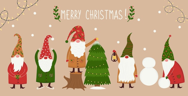 Vektor-set von niedlichen, handgezeichneten weihnachtsfeen-gnomen, die große hüte tragen und verschiedene aktivitäten ausführen