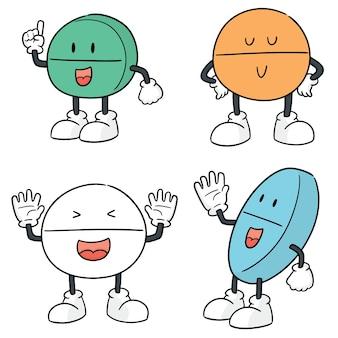 Vektor-set von pille cartoon