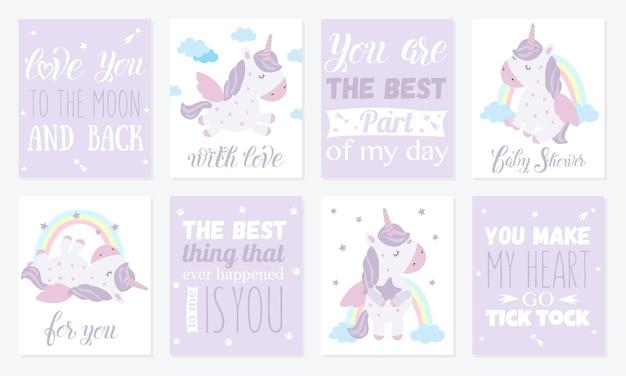 Vektor-set von postkarten mit niedlichen einhörnern poster mit entzückenden magischen tieren im hintergrund
