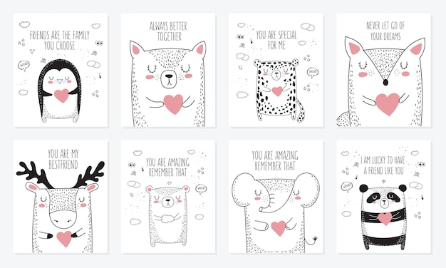 Vektor-set von postkarten mit tieren und slogan über freund. gekritzel-abbildung. freundschaftstag, valentinstag, jubiläum, babyparty, geburtstag, kinderparty
