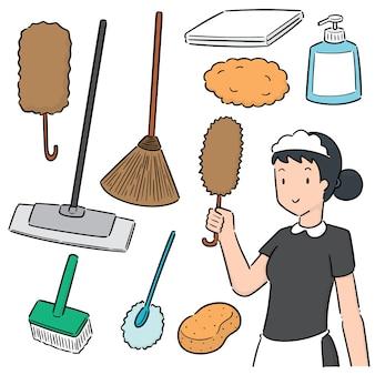 Vektor-set von putzfrau und reinigungsgerät