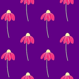 Vektor-set von rosa kamillenblüten auf lila hintergrund sommer frühling herbst nahtlose muster