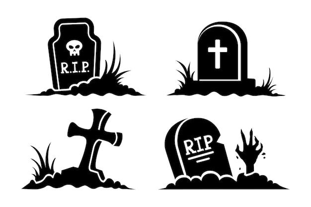 Vektor-set von schwarzen silhouetten und symbolen von gräbern für halloween-grabsteine und kreuze